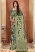 Bottle Green Silk Traditional Woven Saree with Golden Highlights