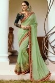 Pista Green Art Silk Saree with Embroidered Lace