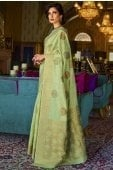 Light Green Woven Saree with Golden Border and Pallu