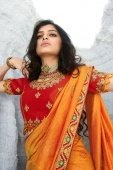 Orange Silk Traditional Bandhani Print Saree with Embroidered Lace