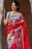 Red Silk Traditional Woven Saree with Contrast Border
