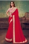Red Georgette Silk Plain Saree with Contrast Frill Border and Designer Blouse