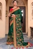 Green Silk Designer Embroidered Saree with Contrast Border