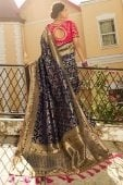 Navy Blue Banarasi Silk Floral Jaal Woven Saree with Elephant Motifs Border and Double Blouse