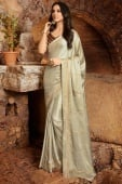 Grey Georgette Silk Saree with Embroidery