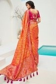 Orange and Pink Two Toned Banarasi Silk Traditional Woven Saree with Tassels