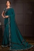 Teal Green Georgette Silk Saree with Sequins Work Border
