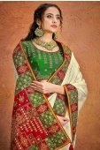 Off White Satin Saree with Kachchi Worked Contrast Border and Pallu