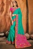 Teal Green Silk Saree with Kachchi Worked Contrast Border and Pallu