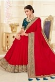 Red Silk Plain Saree with Floral Woven Border