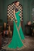 Turquoise Green Silk Saree with Lace