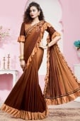 Brown Ombre Lycra Pre Stitched Ruffle Saree