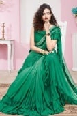 Green Ombre Lycra Pre Stitched Ruffle Saree