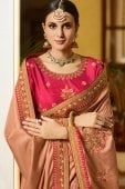 Light Brown Silk Saree with Resham Embroidery