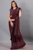 Maroon Imported Lycra Pre Stitched Saree