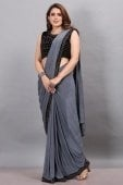 Grey Imported Lycra Fancy Pre Stitched Saree