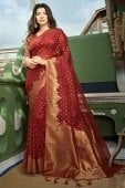 Red Organza Saree with Weaving