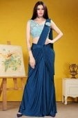 Blue Imported Pre Stitched Fancy Saree