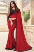 Red Georgette Saree with lace