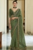 Olive Green Organza Embroidered Saree
