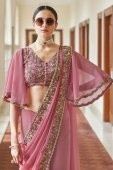 Pink Georgette Saree with Bell Sleeved Blouse