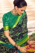 Navy Blue Brasso Saree with Weaving