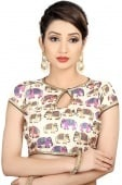 Off White Brocade Printed Blouse with Elephant Motifs