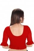 Red Cotton Lycra Stretchable Readymade Blouse