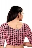 Black and Pink Art Silk Lace Worked Blouse