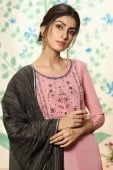 Dusty Pink Viscose Embroidere Straight Cut Palazzo Suit