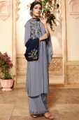 Grey Viscose Embroidered Straight Cut Palazzo Suit