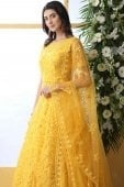 Yellow Net Designer Floral Thread Embroidered Flared Anarkali Gown