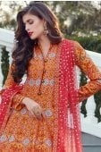 Yellow and Orange Silk Traditional Anarkali Suit with Patola Print