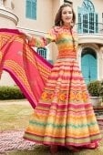 Beige and Multi Colored Cotton Silk Traditional Zigzag Print Anarkali Suit