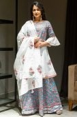 Off White and Sky Blue Cotton Floral Printed Lehenga Suit with Bell Sleeves