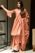 Peach Cotton Gota Patti Lace Worked Lehenga Suit with Bell Sleeves