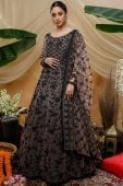 Peach Net Anarkali Suit with Thread Embroidery