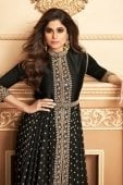 Shamita Shetty Black Georgette Designer Slit Cut Suit with Embroidery