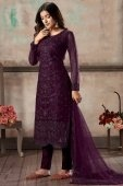 Purple Net Embroidered Straight Cut Suit with Sequins Work