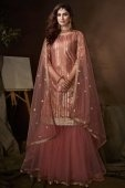 Pink Net Straight Cut Sequins Worked Sharara Suit