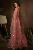 Dusty Pink Net Straight Cut Sequins Worked Sharara Suit