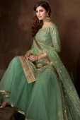 Green Net Straight Cut Sharara Suit with Sequins Work