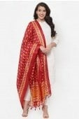 Pearl White Cotton Plain Suit with Printed Dupatta
