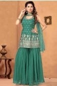 Mint Green Georgette Anarkali Embroidered Sharara Suit