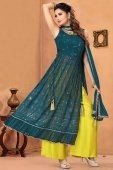 Teal Blue Georgette Embroidered Straight Cut Palazzo Suit with Sequins Work
