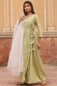 Olive Green Art Silk Angrakha Style Plain Suit with Dupatta