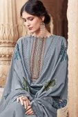 Grey Cotton Silk Straight Cut Palazzo Suit with Embroidery