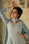 Grey Georgette All Over Lucknowi Chikankari Worked Anarkali Suit
