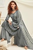 Grey Viscose Chiffon Straight Cut Embroidered Palazzo Suit with Sequins Work