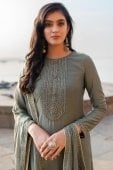 Grey Cotton Silk Straight Cut Suit with Embroidery